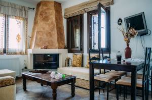 mouresi guesthouse fireplace accommodation view